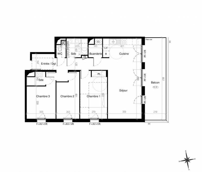 Plan G1503, appartement neuf type T4 au 5ème étage, orienté Est faisant 89m² du programme neuf Terre Garonne à Toulouse.