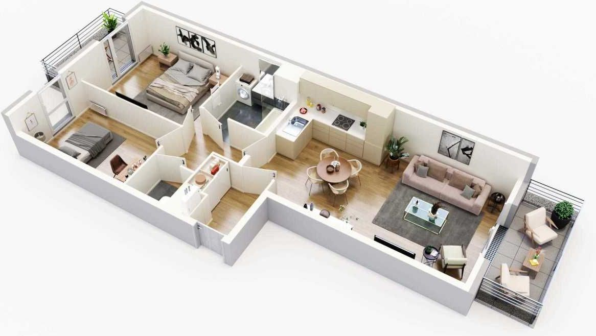 Plan G16, appartement neuf type T3 au 1er étage, orienté Ouest faisant 67m² du programme neuf Equinoxe à Cergy.