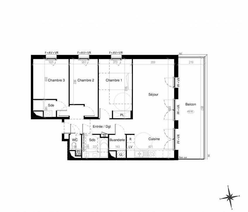 Plan G1602, appartement neuf type T4 au 6ème étage, orienté Est faisant 86m² du programme neuf Terre Garonne à Toulouse.
