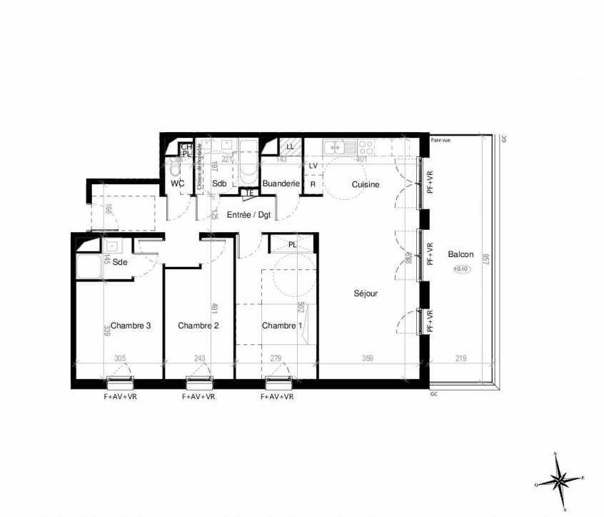 Plan G1603, appartement neuf type T4 au 6ème étage, orienté Est faisant 89m² du programme neuf Terre Garonne à Toulouse.