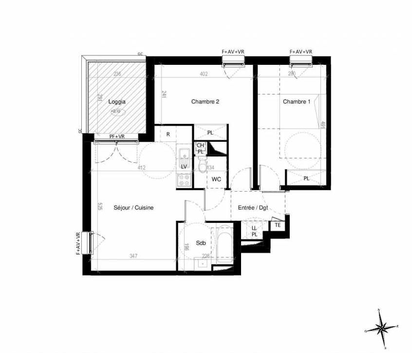 Plan G1701, appartement neuf type T3 au 7ème étage, orienté Ouest faisant 60m² du programme neuf Terre Garonne à Toulouse.