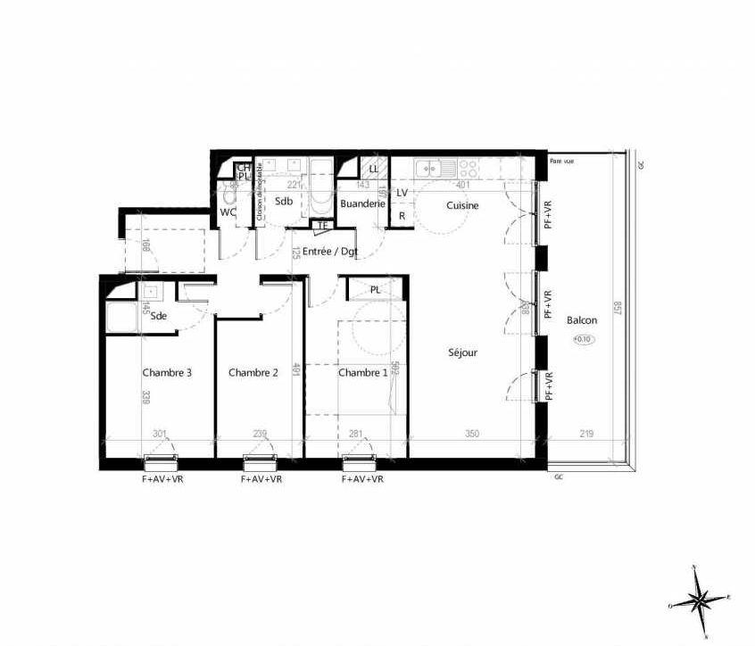 Plan G1703, appartement neuf type T4 au 7ème étage, orienté Est faisant 89m² du programme neuf Terre Garonne à Toulouse.