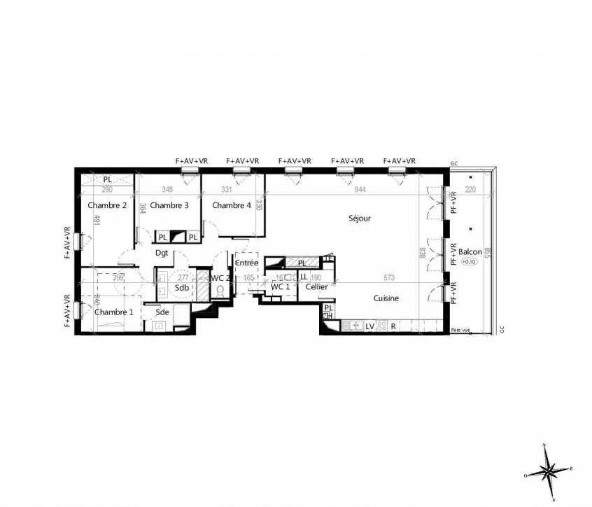 Plan G1901, appartement neuf type T5 au 9ème étage, orienté Est faisant 143m² du programme neuf Terre Garonne à Toulouse.
