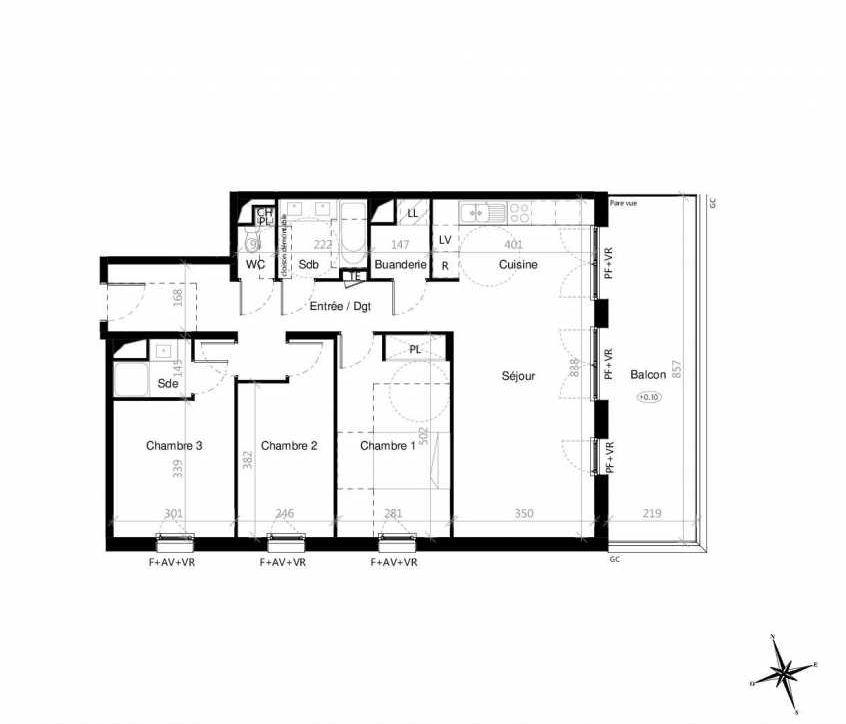 Plan G2203, appartement neuf type T4 au 2ème étage, orienté Est faisant 90m² du programme neuf Terre Garonne à Toulouse.
