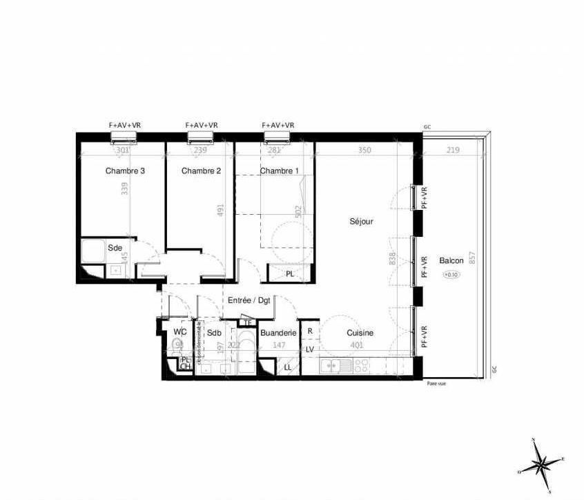 Plan G2302, appartement neuf type T4 au 3ème étage, orienté Est faisant 85m² du programme neuf Terre Garonne à Toulouse.