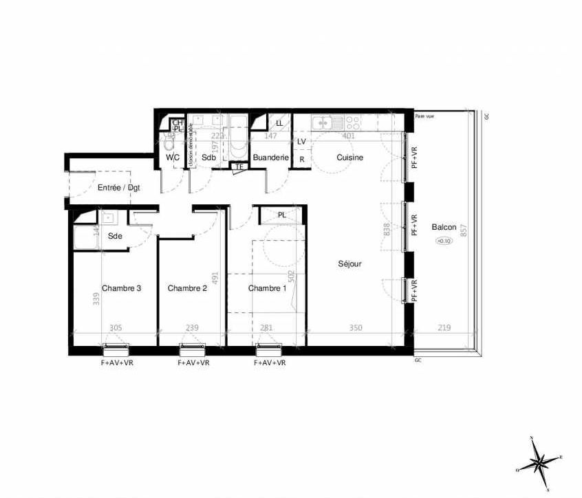 Plan G2303, appartement neuf type T4 au 3ème étage, orienté Est faisant 90m² du programme neuf Terre Garonne à Toulouse.