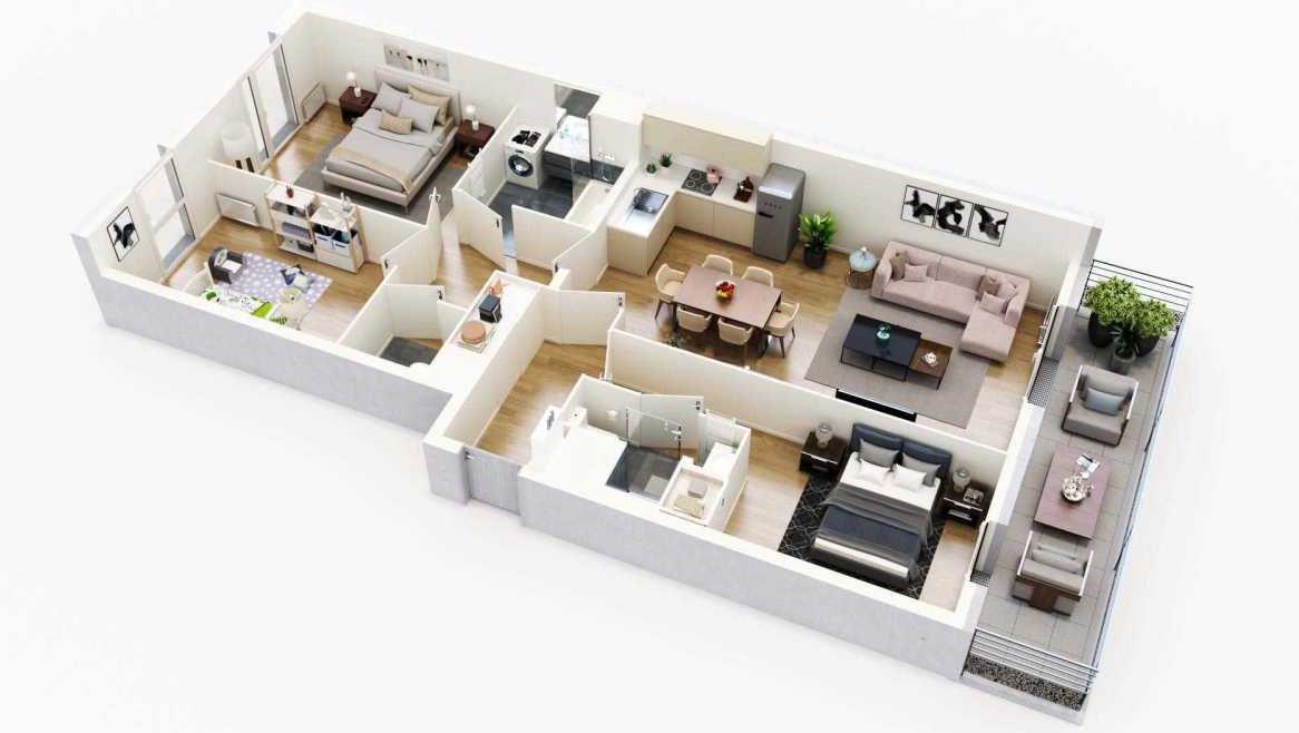 Plan G45, appartement neuf type T4 au 4ème étage, orienté Ouest faisant 84m² du programme neuf Equinoxe à Cergy.