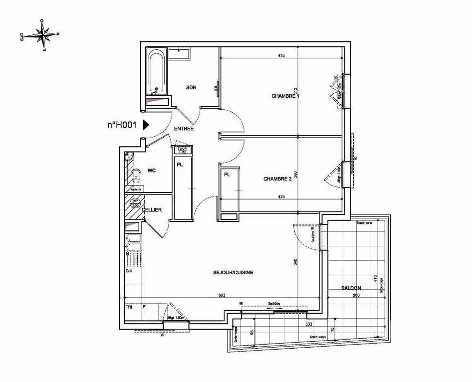 Plan H001, appartement neuf type T3 au Rez de chaussée, orienté Nord faisant 64m² du programme neuf Coeur Mougins - Jardins des Sens et Jardins en Vue à Mougins.