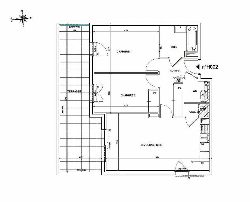 Plan H002, appartement neuf type T3 au Rez de chaussée, orienté Sud faisant 65m² du programme neuf Coeur Mougins - Jardins des Sens et Jardins en Vue à Mougins.
