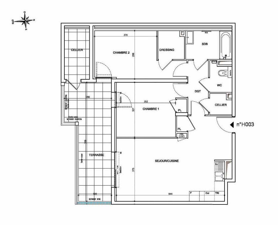 Plan H003, appartement neuf type T3 au Rez de chaussée, orienté Sud faisant 69m² du programme neuf Coeur Mougins - Jardins des Sens et Jardins en Vue à Mougins.