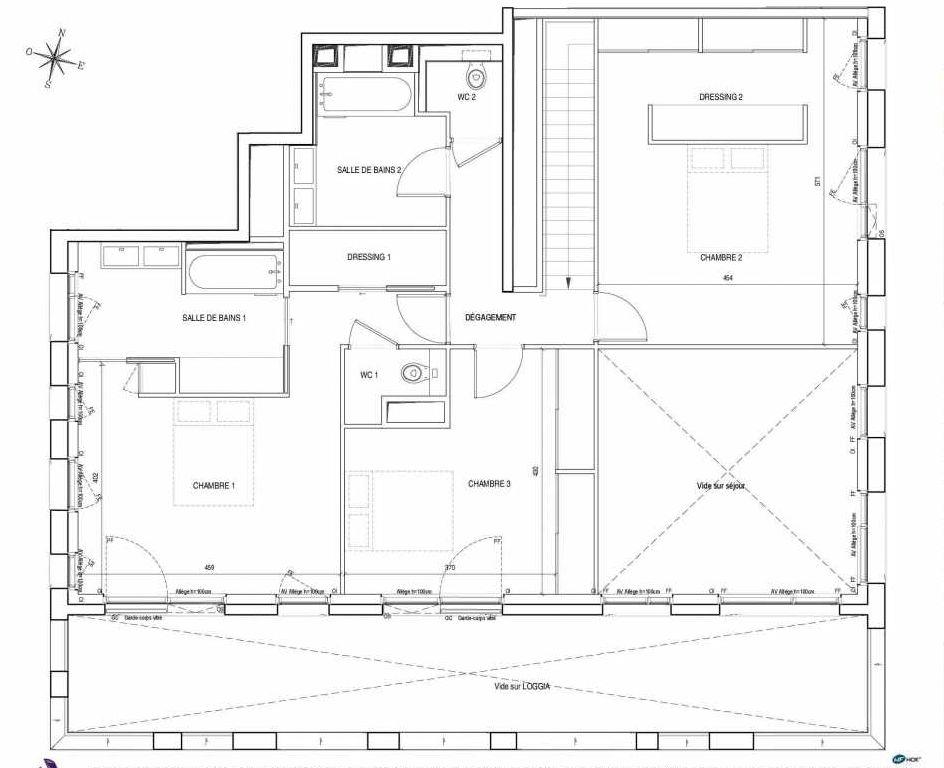 Plan H1.11.1.E, appartement neuf type T4 au Rez de chaussée, orienté Sud faisant 193m² du programme neuf EMBLEM - TR 1 BAT. B ET C à Bordeaux.