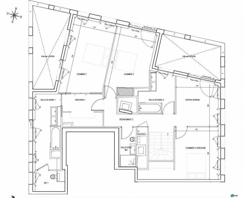 Plan H1.11.2.E, appartement neuf type T4 au Rez de chaussée, orienté Est faisant 189m² du programme neuf EMBLEM - TR 1 BAT. B ET C à Bordeaux.