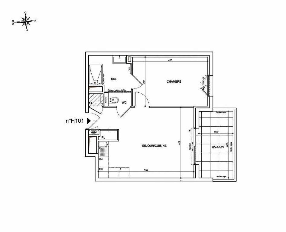 Plan H101, appartement neuf type T2 au 1er étage, orienté Nord faisant 42m² du programme neuf Coeur Mougins - Jardins des Sens et Jardins en Vue à Mougins.