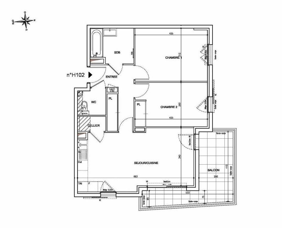 Plan H102, appartement neuf type T3 au 1er étage, orienté Nord faisant 64m² du programme neuf Coeur Mougins - Jardins des Sens et Jardins en Vue à Mougins.