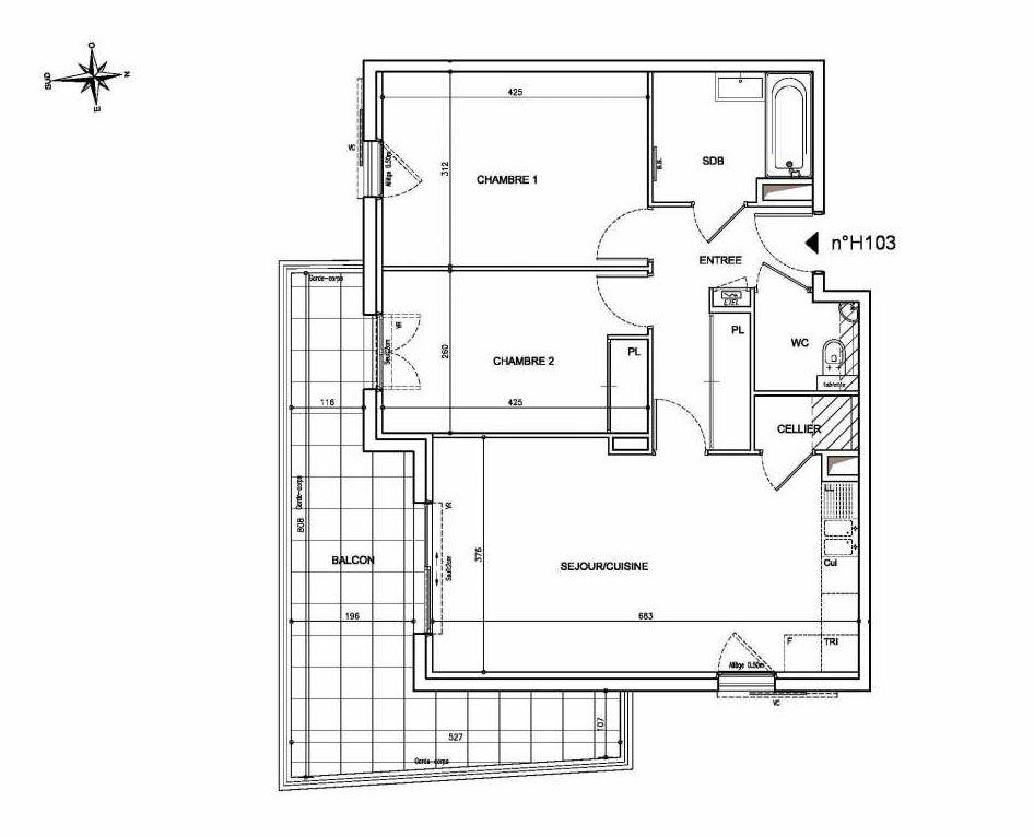 Plan H103, appartement neuf type T3 au 1er étage, orienté Sud faisant 65m² du programme neuf Coeur Mougins - Jardins des Sens et Jardins en Vue à Mougins.
