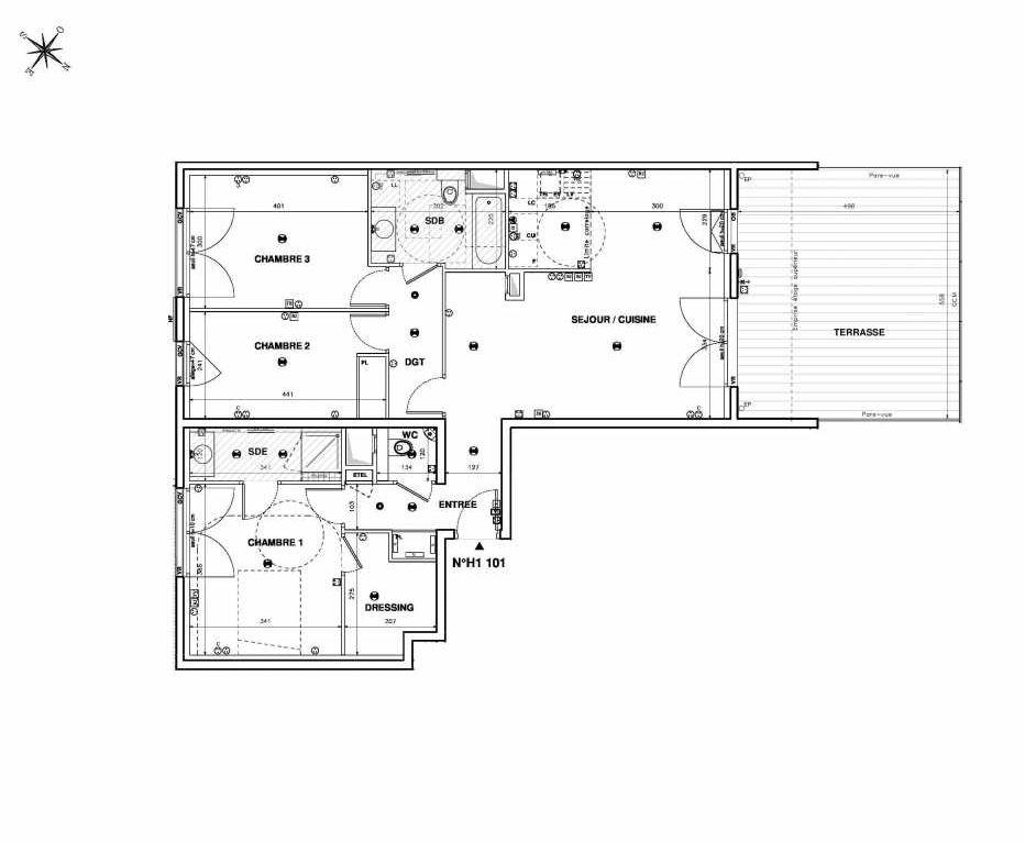 Plan H1101, appartement neuf type T4 au 1er étage, faisant 94m² du programme neuf Issy Coeur de Ville à Issy-les-Moulineaux.