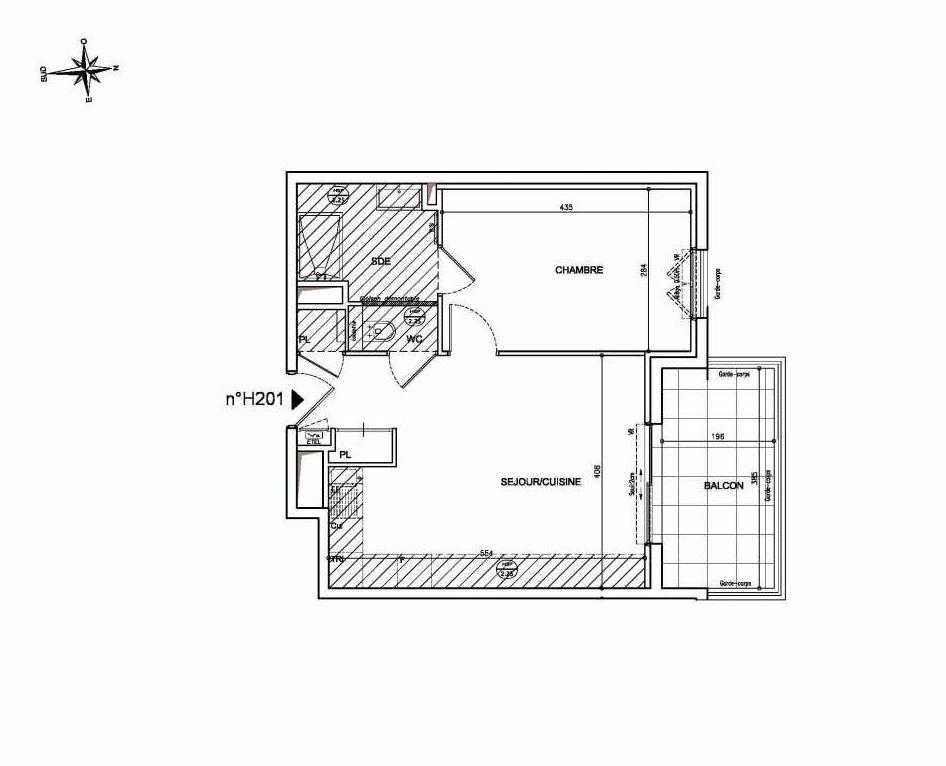 Plan H201, appartement neuf type T2 au 2ème étage, orienté Nord faisant 42m² du programme neuf Coeur Mougins - Jardins des Sens et Jardins en Vue à Mougins.