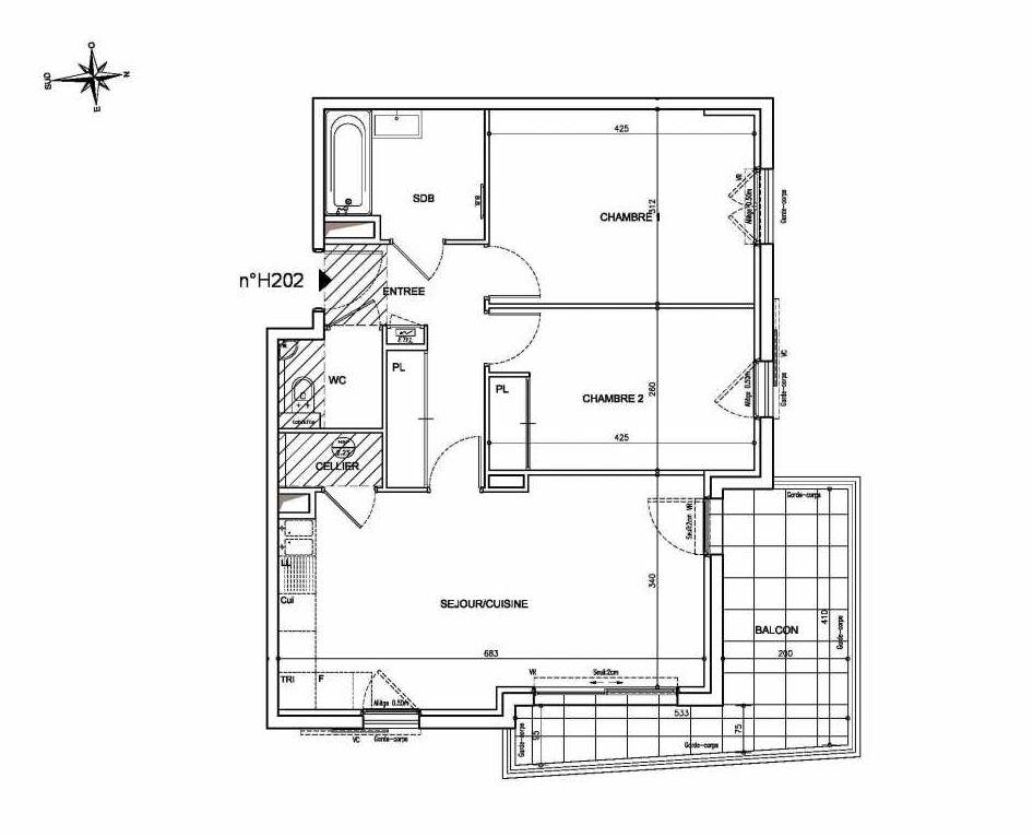 Plan H202, appartement neuf type T3 au 2ème étage, orienté Nord faisant 64m² du programme neuf Coeur Mougins - Jardins des Sens et Jardins en Vue à Mougins.