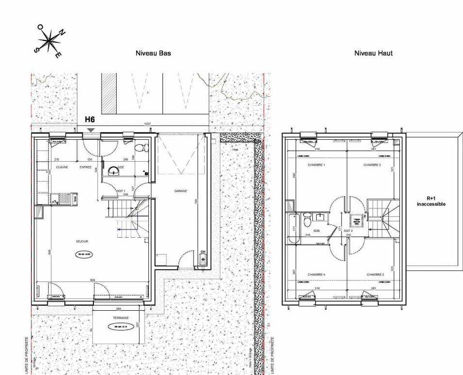 Plan H6, appartement neuf type T5 au Rez de chaussée, faisant 95m² du programme neuf LE PARC DES ARCHERS à Montlhéry.