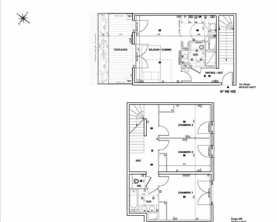 Plan H6105, appartement neuf type T4 au 1er étage, faisant 97m² du programme neuf Issy Coeur de Ville à Issy-les-Moulineaux.