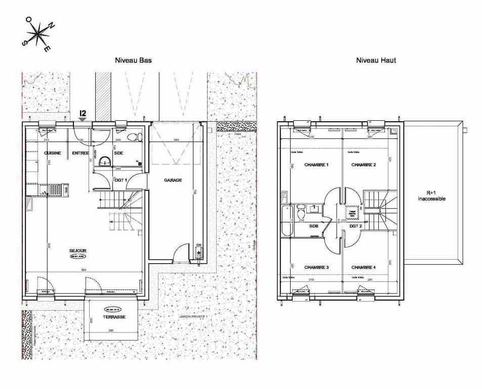 Plan I2, appartement neuf type T5 au Rez de chaussée, faisant 95m² du programme neuf LE PARC DES ARCHERS à Montlhéry.