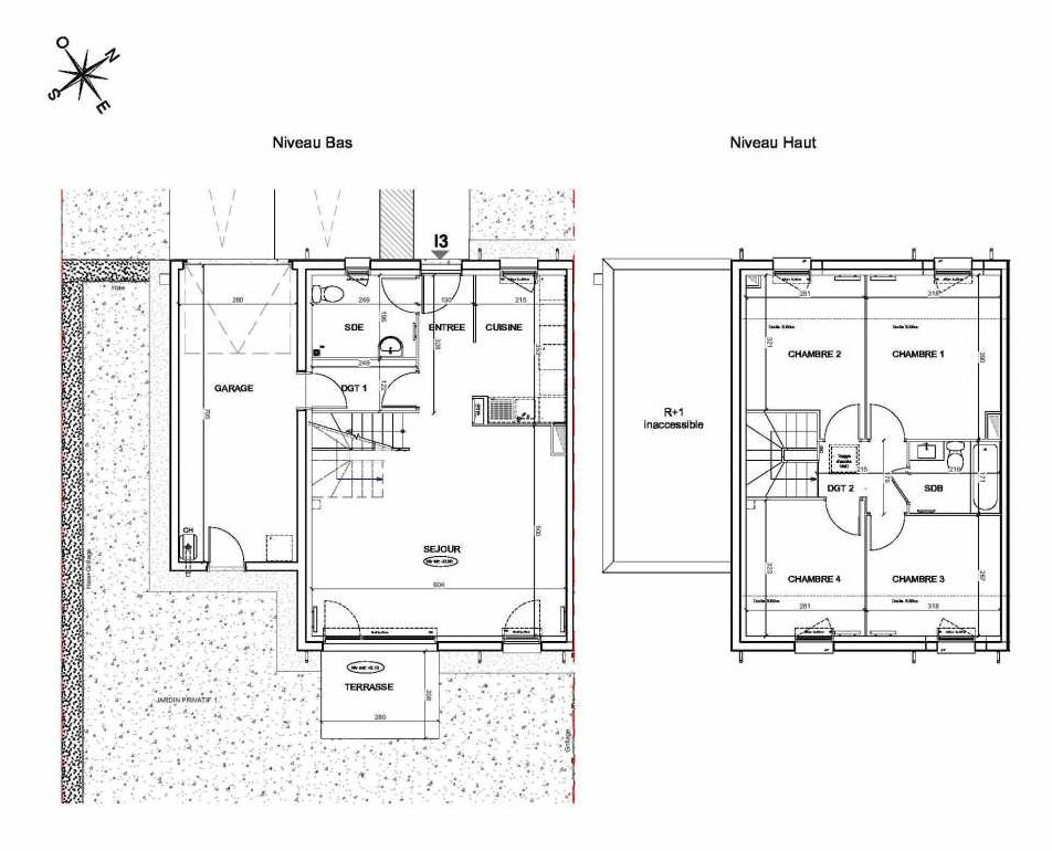 Plan I3, appartement neuf type T5 au Rez de chaussée, faisant 95m² du programme neuf LE PARC DES ARCHERS à Montlhéry.