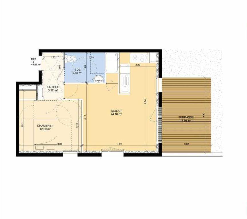 Plan I302, appartement neuf type T2 au Rez de chaussée, faisant 44m² du programme neuf Les Jardins Fleury à Fleury-sur-Orne.