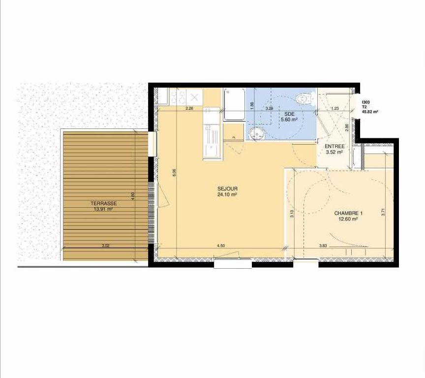 Plan I303, appartement neuf type T2 au Rez de chaussée, faisant 44m² du programme neuf Les Jardins Fleury à Fleury-sur-Orne.