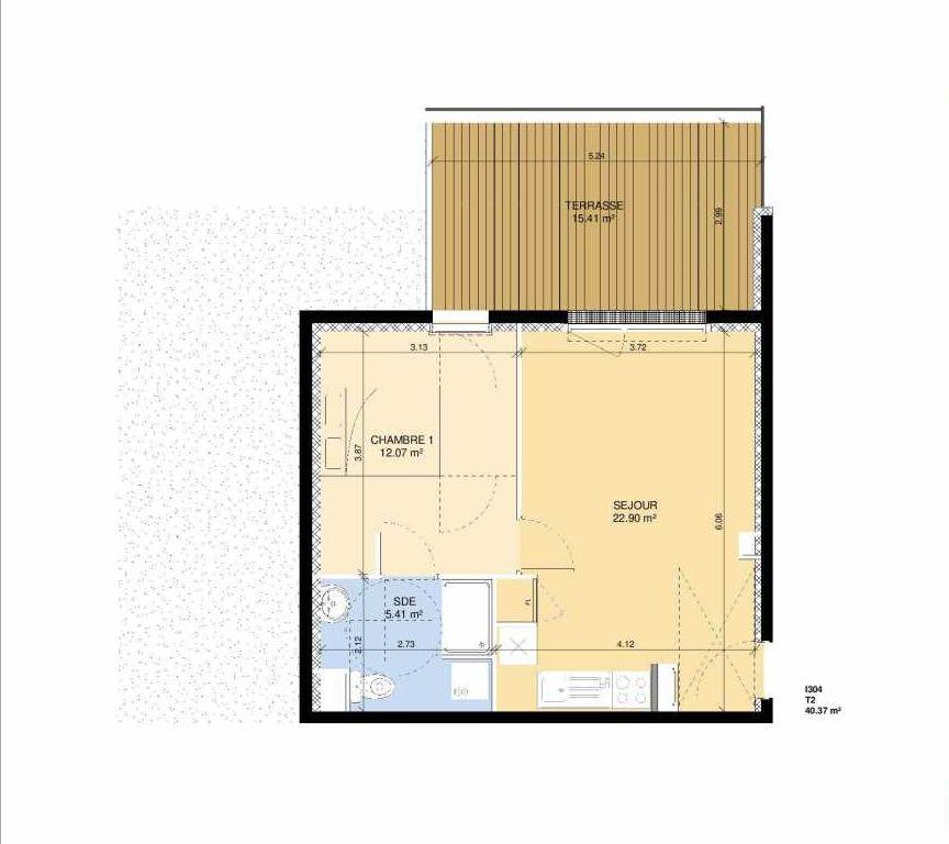 Plan I304, appartement neuf type T2 au Rez de chaussée, faisant 39m² du programme neuf Les Jardins Fleury à Fleury-sur-Orne.