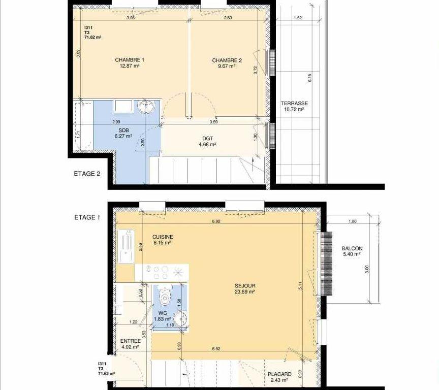 Plan I311, appartement neuf type T3 au 1er étage, faisant 71m² du programme neuf Les Jardins Fleury à Fleury-sur-Orne.