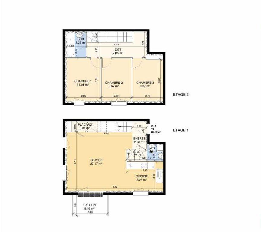 Plan I313, appartement neuf type T4 au 1er étage, faisant 83m² du programme neuf Les Jardins Fleury à Fleury-sur-Orne.