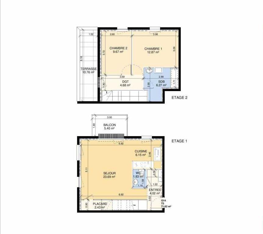 Plan I314, appartement neuf type T3 au 1er étage, faisant 69m² du programme neuf Les Jardins Fleury à Fleury-sur-Orne.