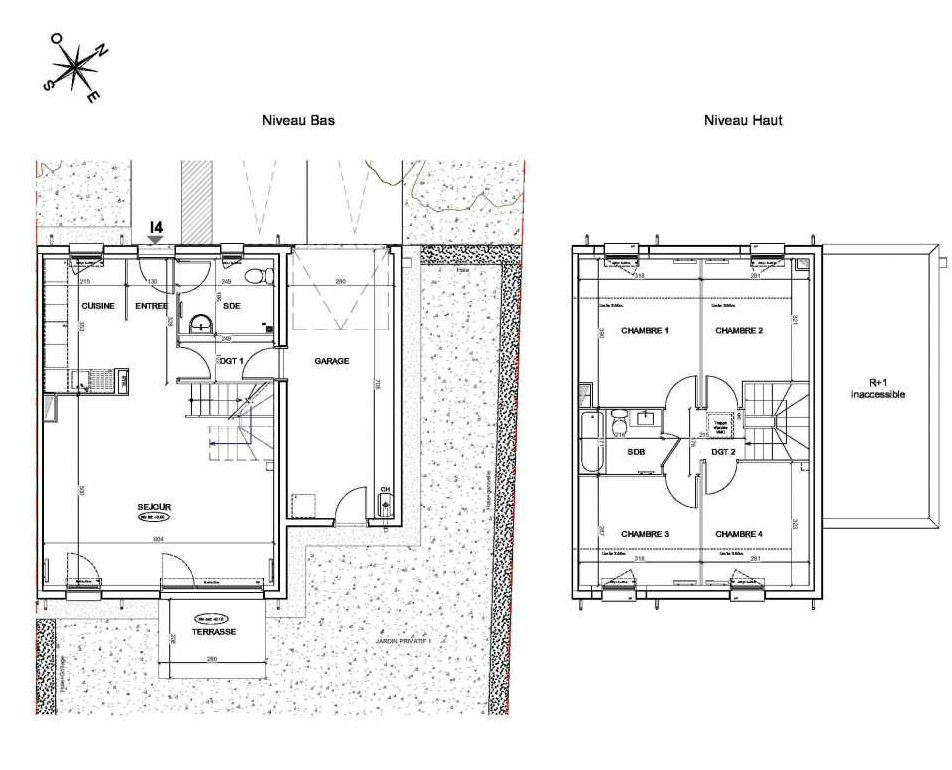 Plan I4, appartement neuf type T5 au Rez de chaussée, faisant 95m² du programme neuf LE PARC DES ARCHERS à Montlhéry.