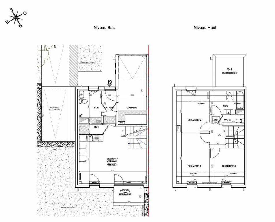 Plan I9, appartement neuf type T4 au Rez de chaussée, faisant 86m² du programme neuf LE PARC DES ARCHERS à Montlhéry.