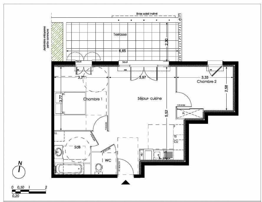 Plan LA001, appartement neuf type T3 au Rez de chaussée, orienté Nord faisant 53m² du programme neuf NUANCES DE PROVENCE à Peynier.