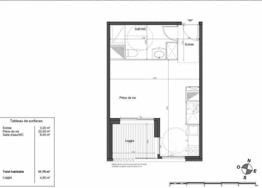 Plan LA010, appartement neuf type T1 au Rez de chaussée, orienté Sud faisant 32m² du programme neuf AVANT-GARDE à Bordeaux.