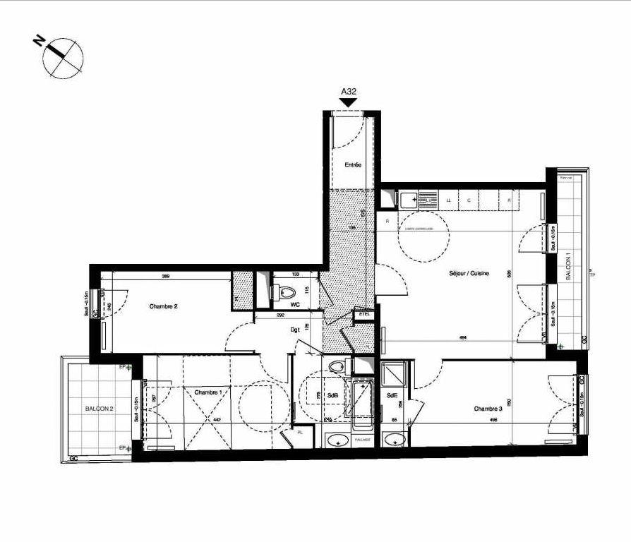 Plan LA032, appartement neuf type T4 au 3ème étage, orienté Sud faisant 84m² du programme neuf L'YDEAL à Fontenay-le-Fleury.