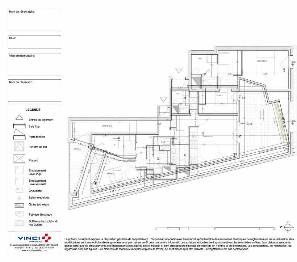 Plan LA101, appartement neuf type T4 au 1er étage, orienté Sud faisant 103m² du programme neuf CARRE CAPUCINS à Bordeaux.