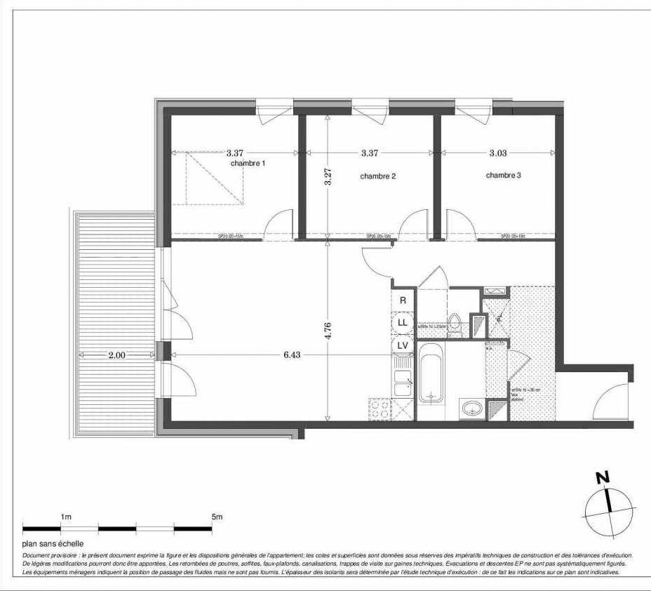 Plan LA103, appartement neuf type T4 au 1er étage, orienté Ouest faisant 81m² du programme neuf SECRET GARDEN à Strasbourg.