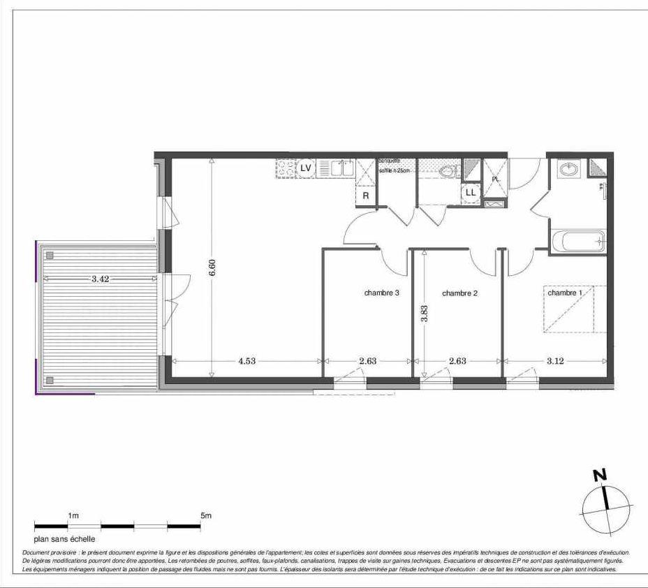 Plan LA104, appartement neuf type T4 au 1er étage, orienté Ouest faisant 83m² du programme neuf SECRET GARDEN à Strasbourg.