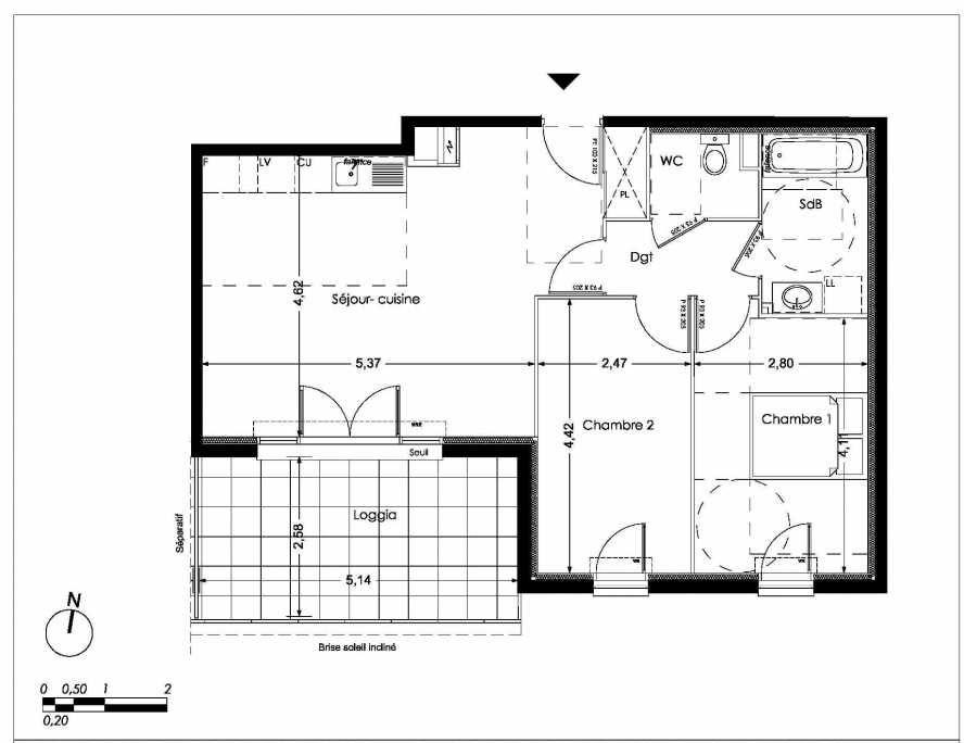 Plan LA105, appartement neuf type T3 au 1er étage, orienté Sud faisant 62m² du programme neuf NUANCES DE PROVENCE à Peynier.