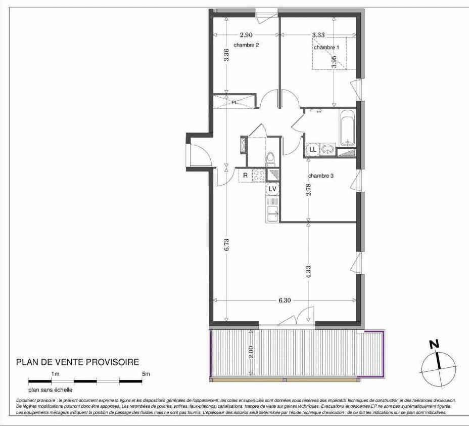 Plan LA108, appartement neuf type T4 au 1er étage, orienté Sud faisant 83m² du programme neuf SECRET GARDEN à Strasbourg.