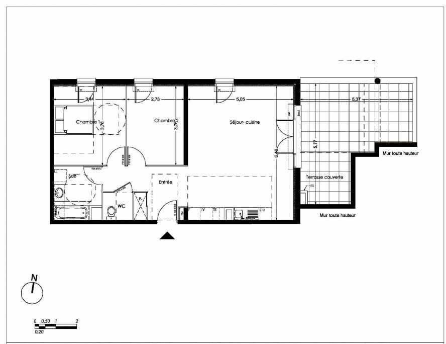 Plan LA201, appartement neuf type T3 au 2ème étage, orienté Nord faisant 70m² du programme neuf NUANCES DE PROVENCE à Peynier.