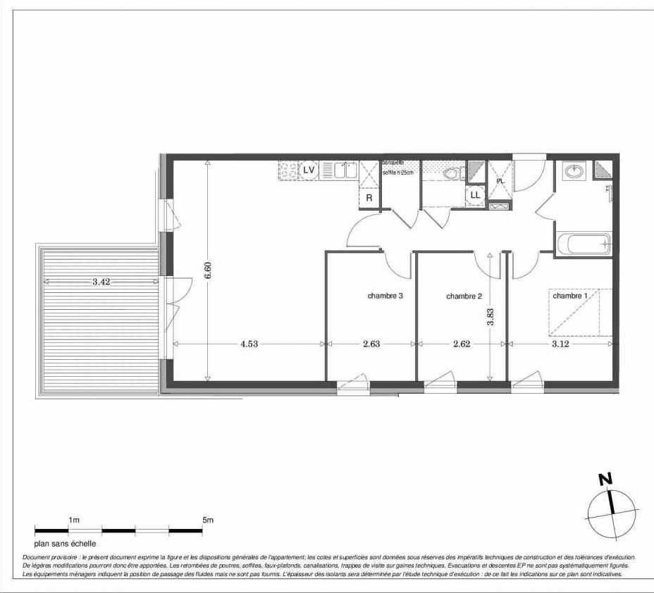 Plan LA203, appartement neuf type T4 au 2ème étage, orienté Ouest faisant 83m² du programme neuf SECRET GARDEN à Strasbourg.