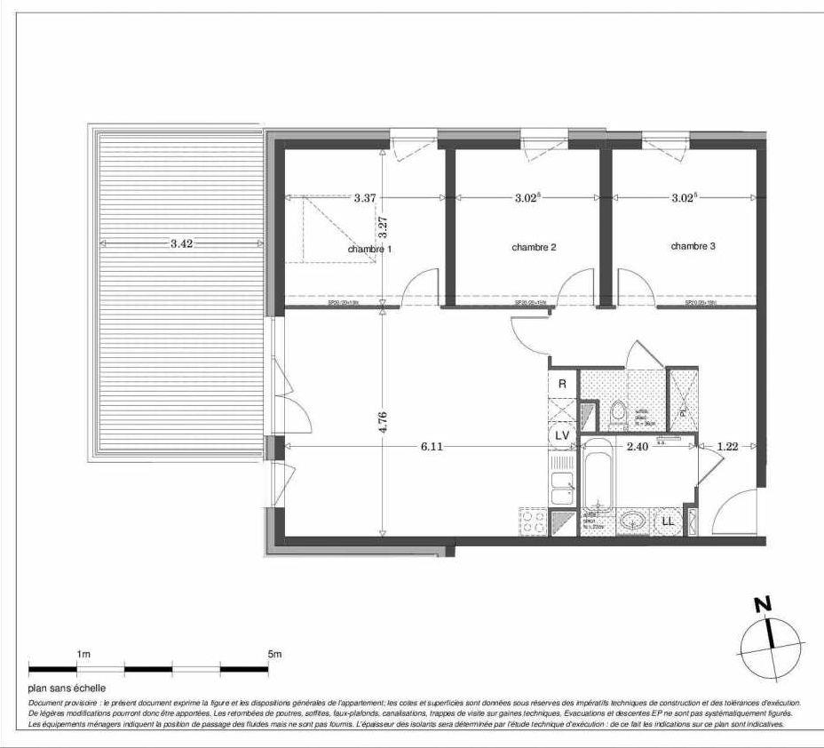 Plan LA302, appartement neuf type T4 au 3ème étage, orienté Ouest faisant 76m² du programme neuf SECRET GARDEN à Strasbourg.