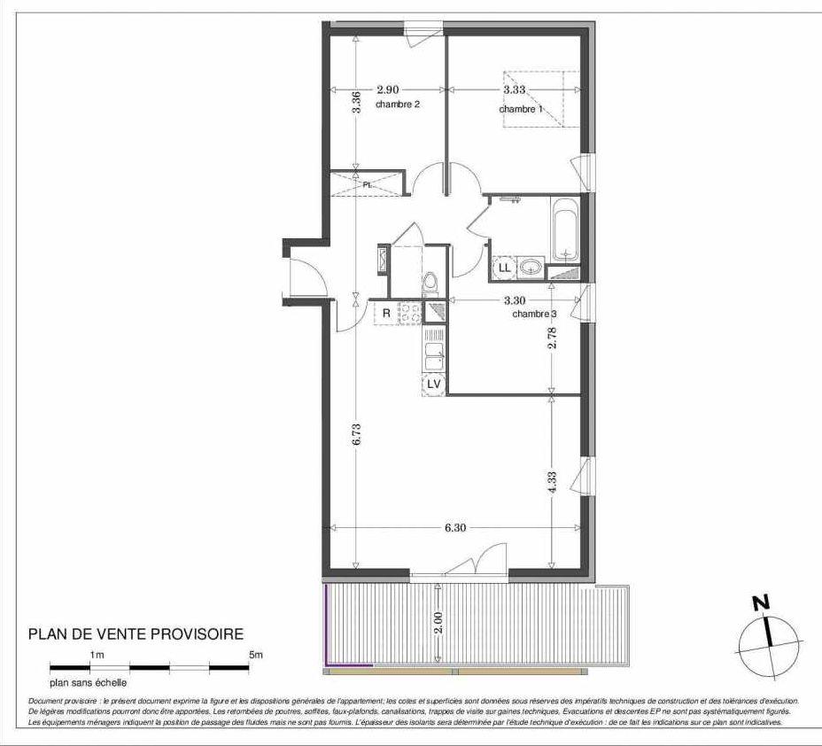 Plan LA307, appartement neuf type T4 au 3ème étage, orienté Sud faisant 83m² du programme neuf SECRET GARDEN à Strasbourg.