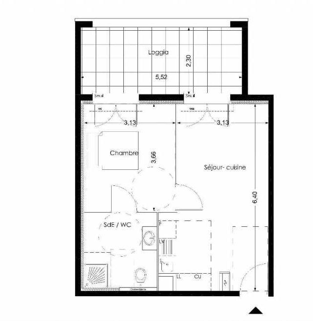 Plan LB004, appartement neuf type T2 au Rez de chaussée, orienté Nord faisant 38m² du programme neuf NUANCES DE PROVENCE à Peynier.