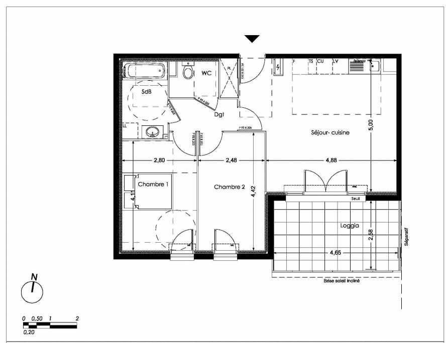 Plan LB101, appartement neuf type T3 au 1er étage, orienté Sud faisant 61m² du programme neuf NUANCES DE PROVENCE à Peynier.