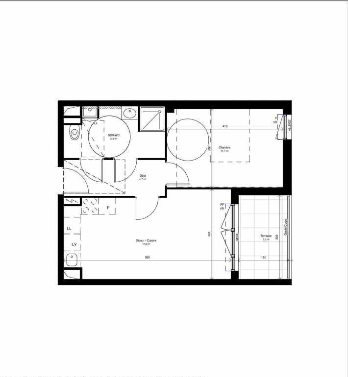 Plan LB108, appartement neuf type T2 au 1er étage, orienté Est faisant 41m² du programme neuf UNIK 12 - 12ème arrondissement à Marseille.