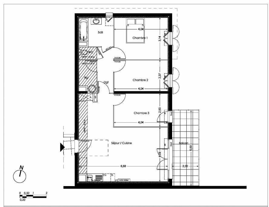 Plan LC101, appartement neuf type T4 au 1er étage, orienté Est faisant 79m² du programme neuf NUANCES DE PROVENCE à Peynier.